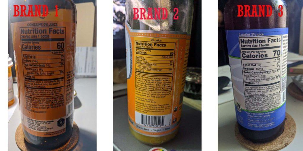 Three brands of kombucha